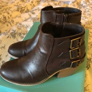 Brown three buckle booties size 8 Maurices